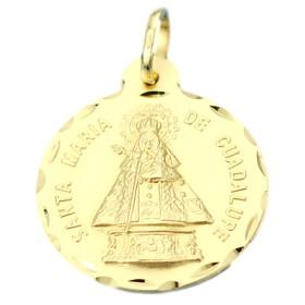 Medalla de la Virgen de Guadalupe de oro de 18 quilates