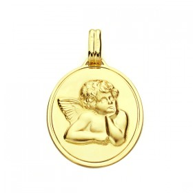 Medalla ángel de oro de 18 quilates