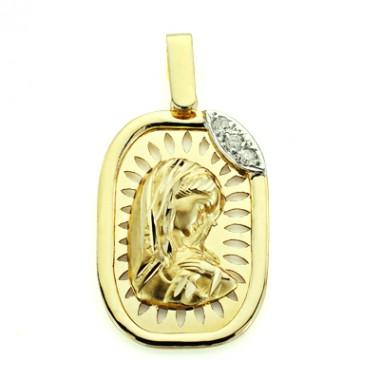 Medalla con brillantes realizada en oro de 18 quilates