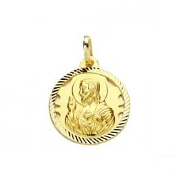 Medalla Sagrado Corazón de Jesús de oro de 18 quilates