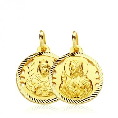 223797d516b Medalla escapulario de la Virgen del Carmen y el Sagrado Corazón de Jesús  de oro de