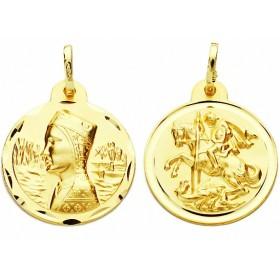 Medalla escapulario de la Virgen de Montserrat y de San Jorge de oro de 18 quilates