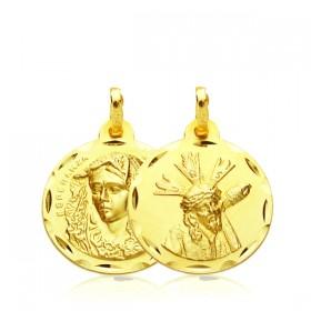 Medalla escapulario del Cristo del Gran Poder y de la Virgen de la Macarena de oro de 18 quilates