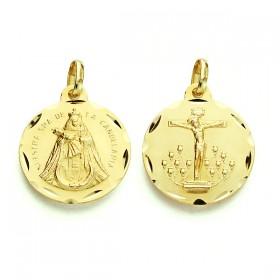 Medalla escapulario del Cristo de la Laguna y de la Virgen de la Candelaria de oro de 18 quilates