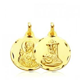 Medalla escapulario de la Virgen de la Asunción y del Sagrado Corazón de Jesús de oro de 18 quilates