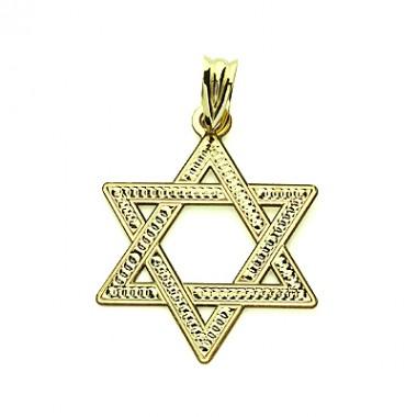 Medalla colgante Estrella de David de oro de 18 quilates