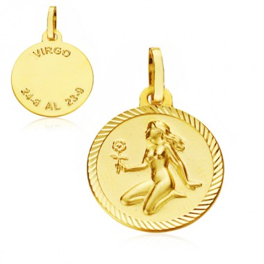 Medalla Horóscopo Virgo de oro de 18 quilates