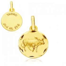 Medalla Horóscopo Tauro de oro de 18 quilates