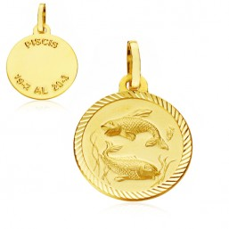 Medalla Horóscopo Piscis de oro de 18 quilates