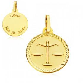 Medalla Horóscopo Libra de oro de 18 quilates