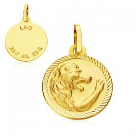 Medalla Horóscopo Leo de oro de 18 quilates