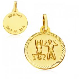 Medalla Horóscopo Géminis de oro de 18 quilates