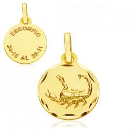 Medalla Horóscopo Escorpión de oro de 18 quilates