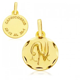 Medalla Horóscopo Capricornio de oro de 18 quilates