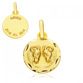 Medalla Horóscopo Aries de oro de 18 quilates