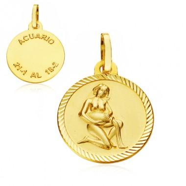 Medalla Horóscopo Acuario de oro de 18 quilates
