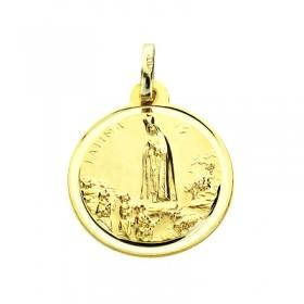 Medalla de la Virgen de Fátima de oro de 18 quilates