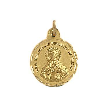 Medalla de la Virgen de la Esperanza de Triana de oro de 18 quilates