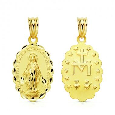 Medalla de la Virgen de la Milagrosa de oro de 18 quilates