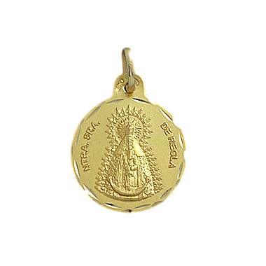 Medalla de la Virgen de la Regla de oro de 18 quilates