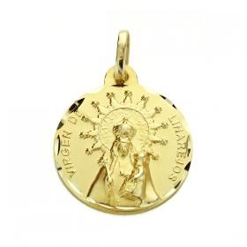 Medalla de la Virgen de Linarejos de oro de 18 quilates