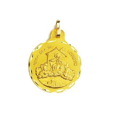 Medalla de la Virgen de Loreto de oro de 18 quilates