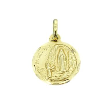 Medalla de la Virgen de Lourdes de oro de 18 quilates