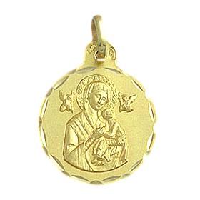 Medalla de la Virgen del Perpetuo Socorro de oro de 18 quilates