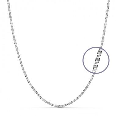 Cadena diamantada de oro blanco de ley de 18 quilates