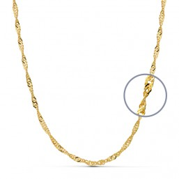 Cadena singapur maciza de oro de ley de 18 quilates