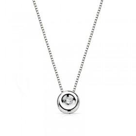 White gold pendant with diamond and chain