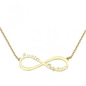 Colgante infinito con cadena en oro de primera ley