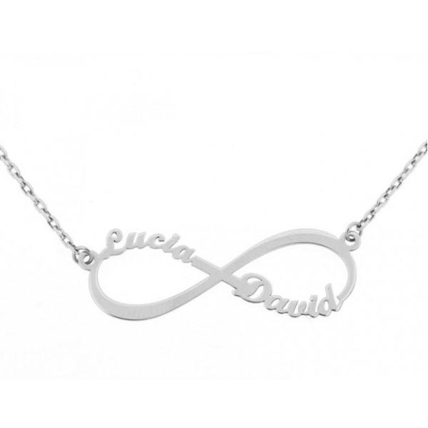 6991ca34473 Colgante infinito con cadena y dos nombres personalizados en oro blanco de  primera ley