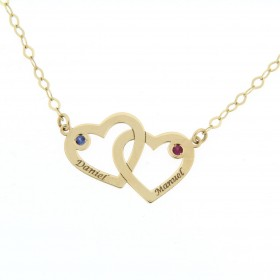 Gold pendant with two hearts