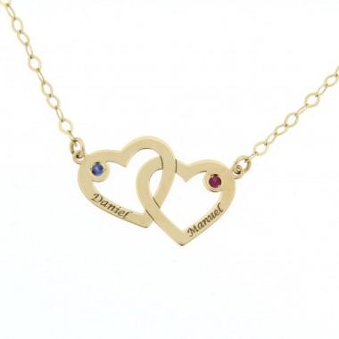 Colgante 2 corazones con cadena en oro de primera ley