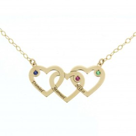 Colgante 3 corazones con cadena en oro de primera ley