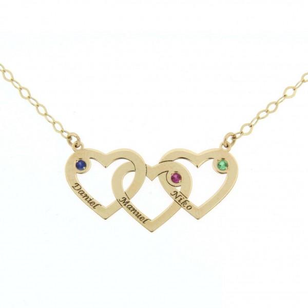 0b3f30f88fae Colgante de tres corazones con cadena para personalizado con tres nombres  en oro de primera ley