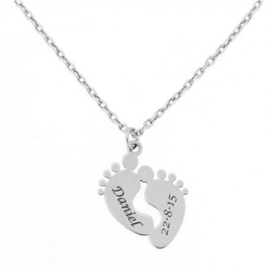 Baby feet white gold pendant