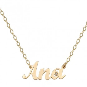 Gold name necklace with one diamond