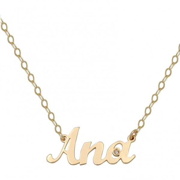 d73ff33c60e0 Colgante nombre y cadena en oro de primera ley con 1 diamante