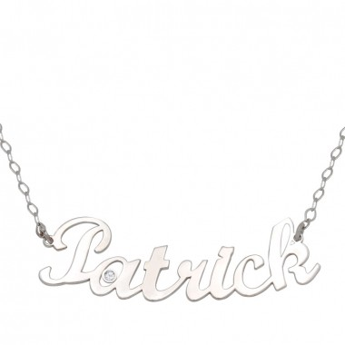 White gold name necklace with one diamond