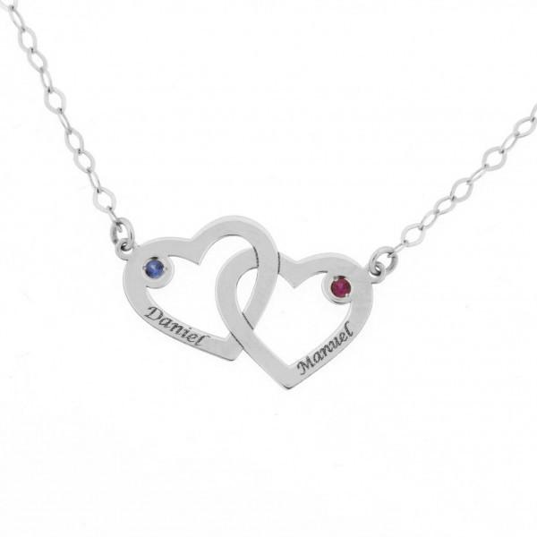3a4c57ce8612 Colgante 2 corazones con cadena en oro blanco de primera ley
