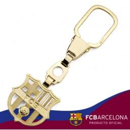 Llavero escudo Barça en oro de primera ley