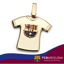 Colgante camiseta con escudo Barça en oro primera ley