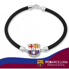 Pulsera escudo Barça en plata de primera ley