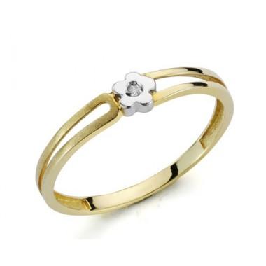 Anillo de oro blanco y oro amarillo con 1 diamante