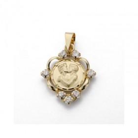 Colgante con medalla enamorados de oro de primera ley