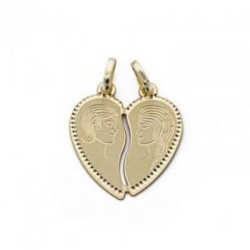 Colgante enamorados corazón en oro de primera ley de 18 quilates