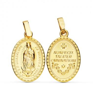 Medalla de la Virgen de Guadalupe de México de oro de 18 quilates