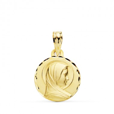 Medalla de la Virgen María Madre de Dios de oro de 18 quilates